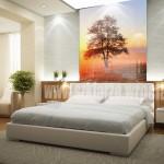 Zdjęcie w sypialni, trwały nadruk na szkle drzewa