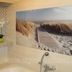 Panel szklany w łazience: morze, piasek, wydmy, plaża, trawy