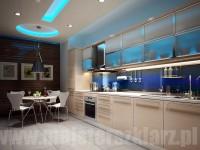 Ciekawa kolorystyka kuchni i panelu szklanego w tonacji niebieskiej