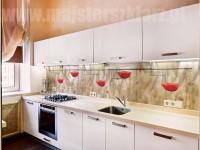 Motyw czerwonych maków na panelu szklanym w jasnej kuchni